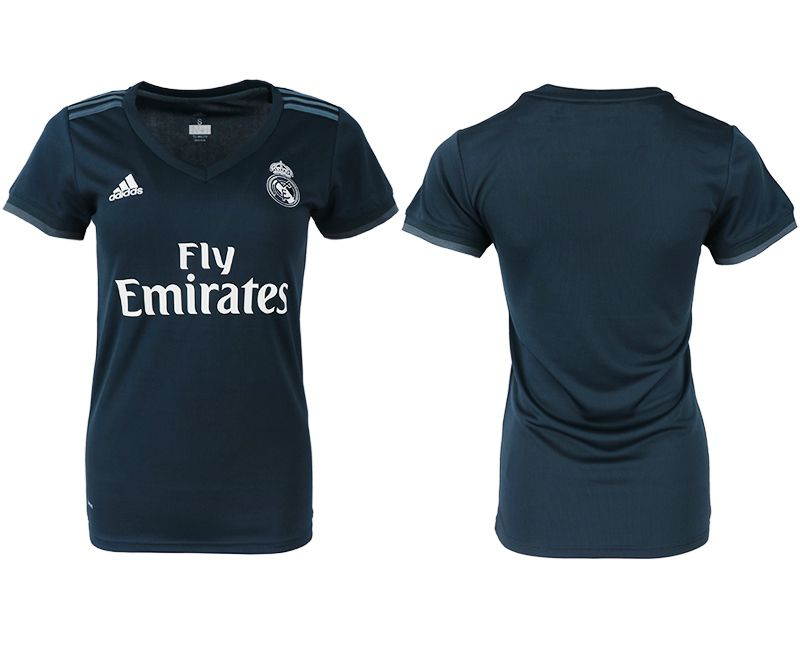 Women 2018-2019 club Real Madrid aaa version away blank blue soccer jersey