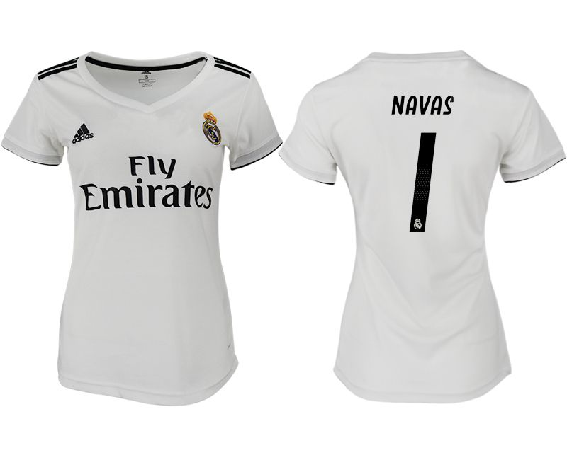Women 2018-2019 club Real Madrid aaa version home 1 white soccer jersey
