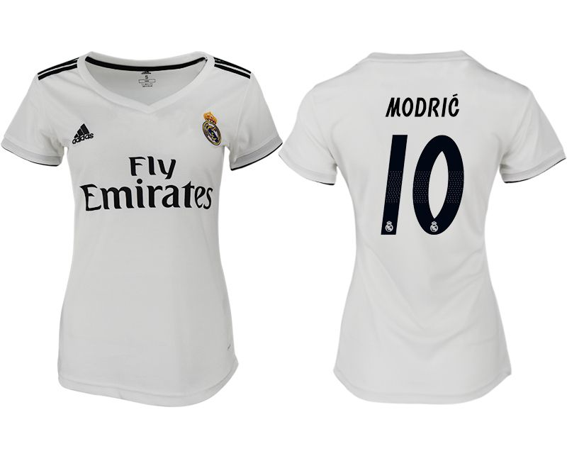 Women 2018-2019 club Real Madrid aaa version home 10 white soccer jersey