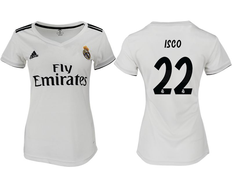 Women 2018-2019 club Real Madrid aaa version home 22 white soccer jersey