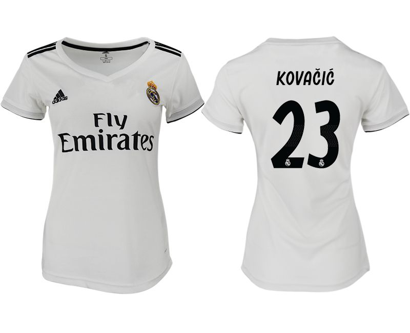 Women 2018-2019 club Real Madrid aaa version home 23 white soccer jersey