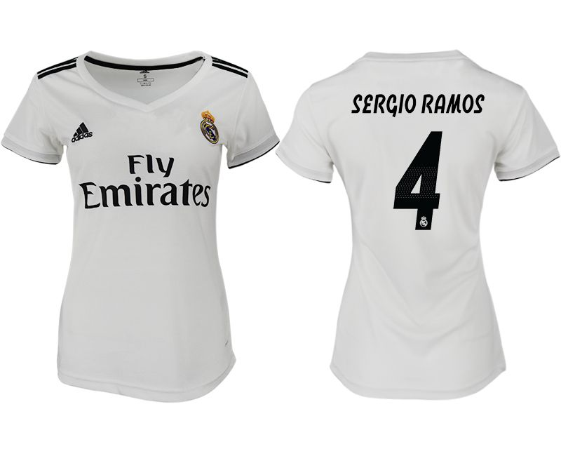 Women 2018-2019 club Real Madrid aaa version home 4 white soccer jersey