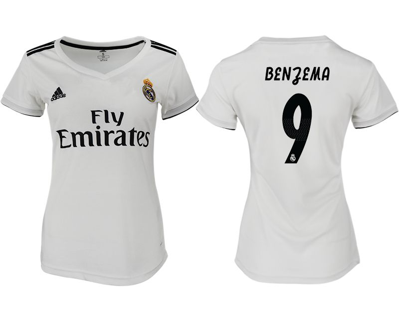 Women 2018-2019 club Real Madrid aaa version home 9 white soccer jersey