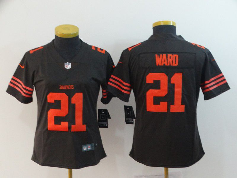 Women Cleveland Browns 21 Ward brown Nike Vapor Untouchable Limited Playe NFL Jerseys