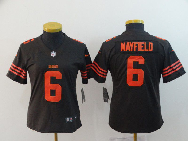 Women Cleveland Browns 6 Mayfield Brown Nike Vapor Untouchable Limited Playe NFL Jerseys