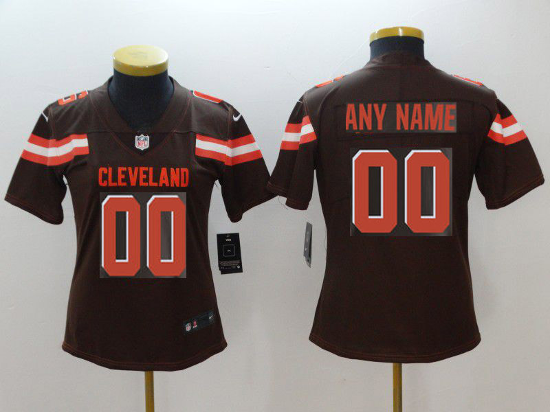 Women Cleveland Browns Custom Brown Nike Vapor Untouchable Limited NFL Jerseys