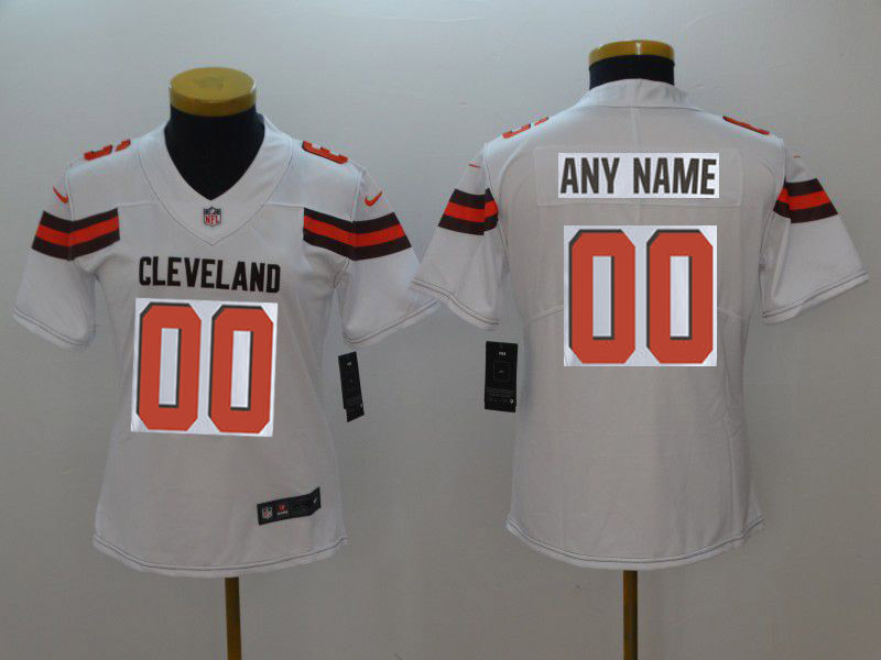 Women Cleveland Browns Custom White Nike Vapor Untouchable Playe NFL Jerseys