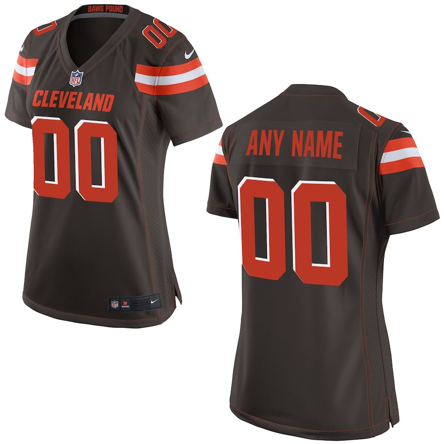 Women Cleveland Browns Nike Brown Custom Game NFL Jersey