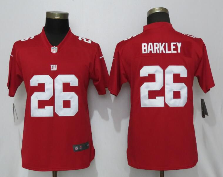 Women New York Giants 26 Barkley Red Nike Vapor Untouchable Limited Playe NFL Jerseys