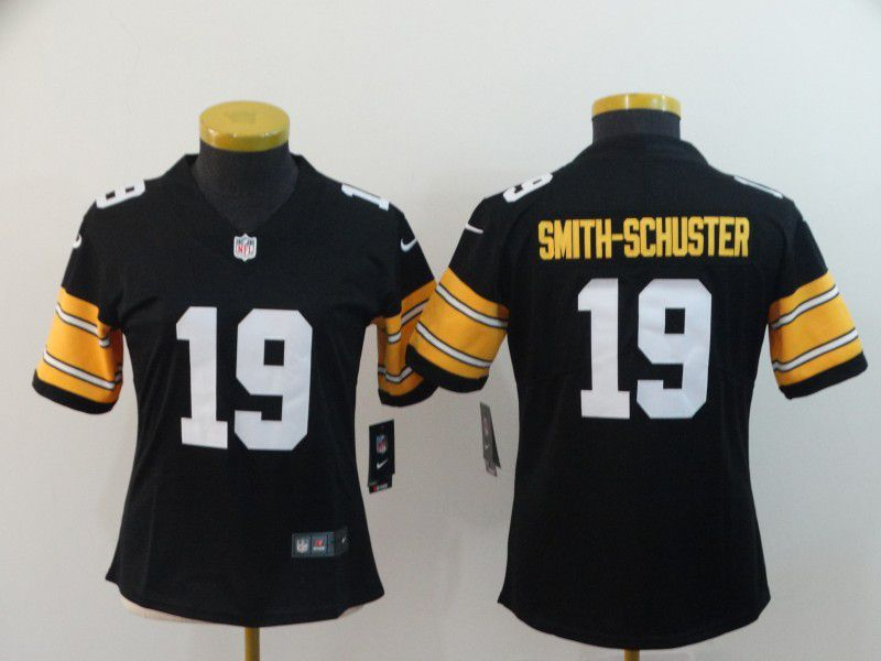 Women Pittsburgh Steelers 19 Smith-Schuster Black Nike Vapor Untouchable Limited Playe NFL Jerseys