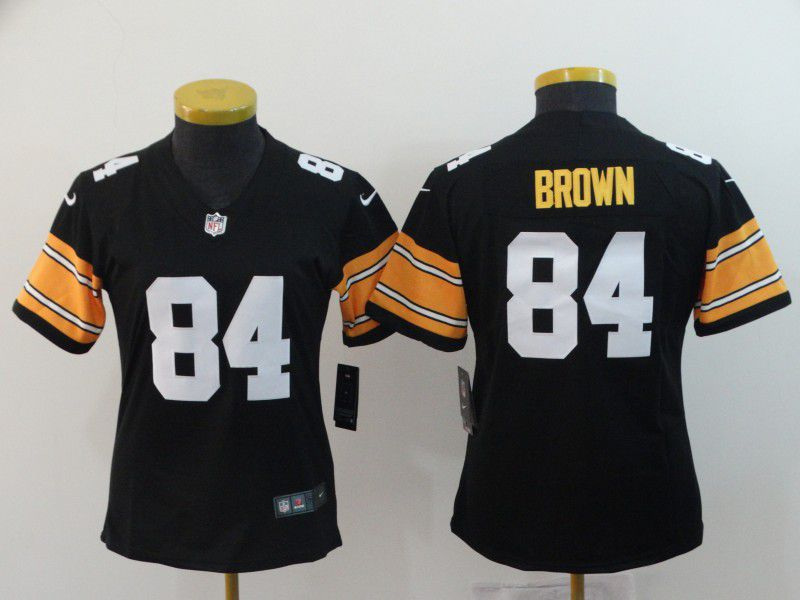 Women Pittsburgh Steelers 84 Brown Black Nike Vapor Untouchable Limited Playe NFL Jerseys