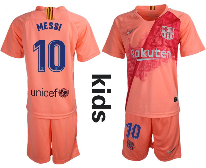 Youth 2018-2019 club Barcelona Second away 10 pink Soccer Jerseys