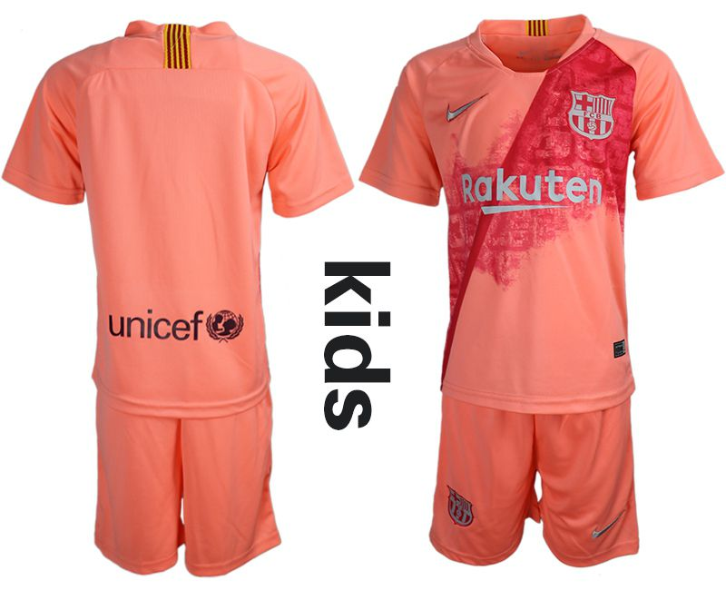 Youth 2018-2019 club Barcelona Second away blank pink Soccer Jerseys