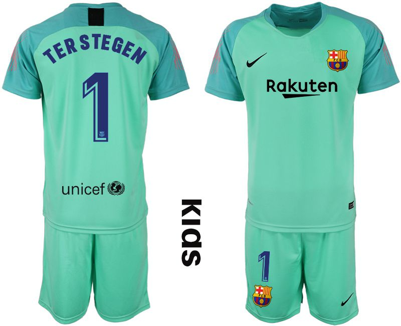 Youth 2018-2019 club Barcelona goalkeeper 1 green Soccer Jerseys