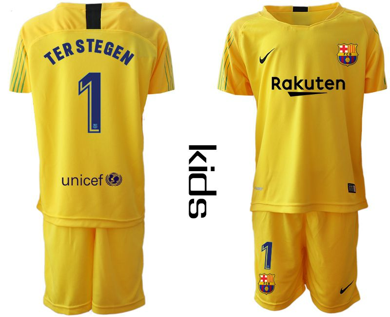 Youth 2018-2019 club Barcelona goalkeeper 1 yellow Soccer Jerseys