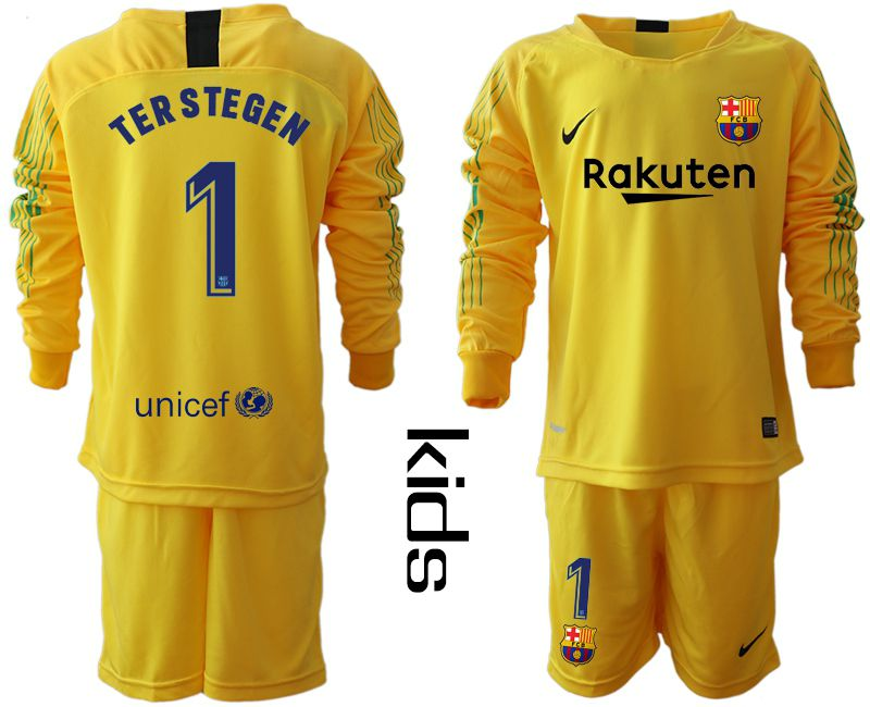 Youth 2018-2019 club Barcelona goalkeeper 1 yellow long sleeve Soccer Jerseys