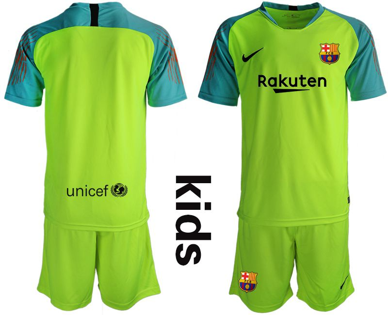 Youth 2018-2019 club Barcelona goalkeeper blank Fluorescent green Soccer Jerseys