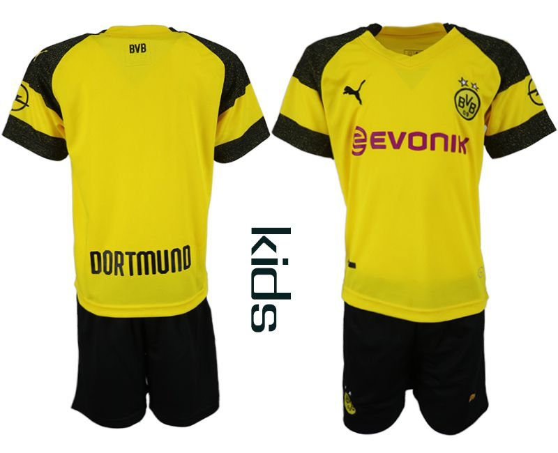 Youth 2018-2019 club Dortmund home blank yellow soccer jersey