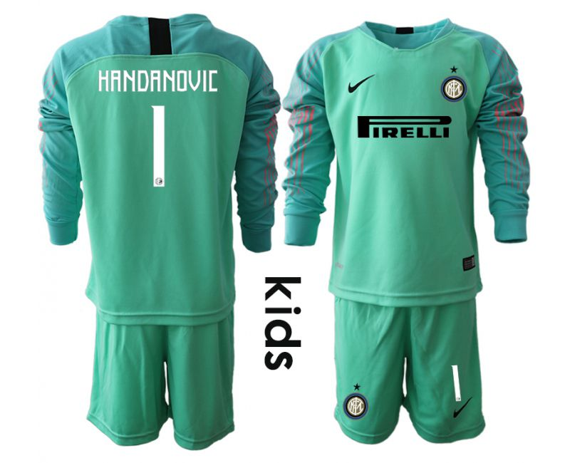Youth 2018-2019 club Inter Milan goalkeeper 1 blue long sleeve soccer jersey