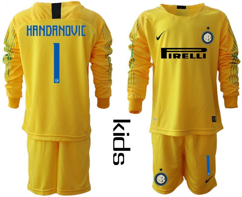Youth 2018-2019 club Inter Milan goalkeeper 1 yellow long sleeve soccer jersey