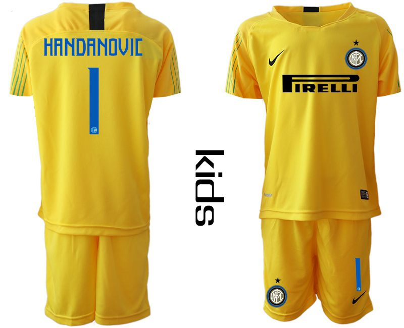 Youth 2018-2019 club Inter Milan goalkeeper 1 yellow soccer jersey