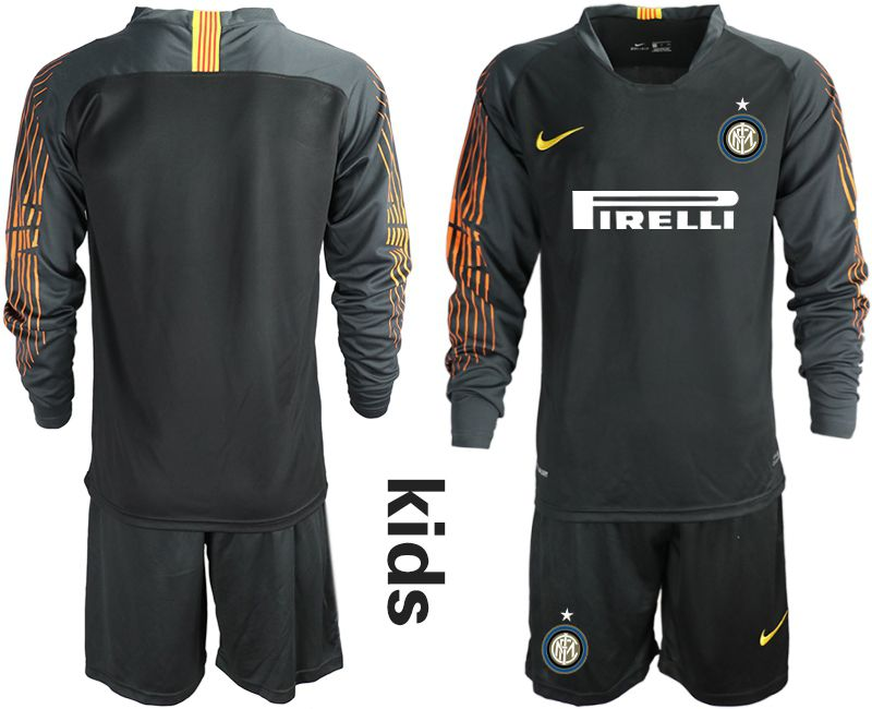 Youth 2018-2019 club Inter Milan goalkeeper blank black soccer jersey