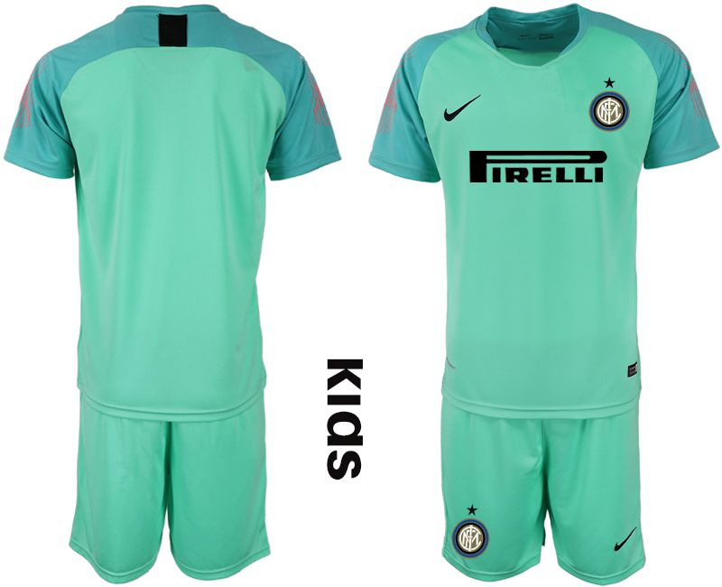 Youth 2018-2019 club Inter Milan goalkeeper blank blue soccer jersey