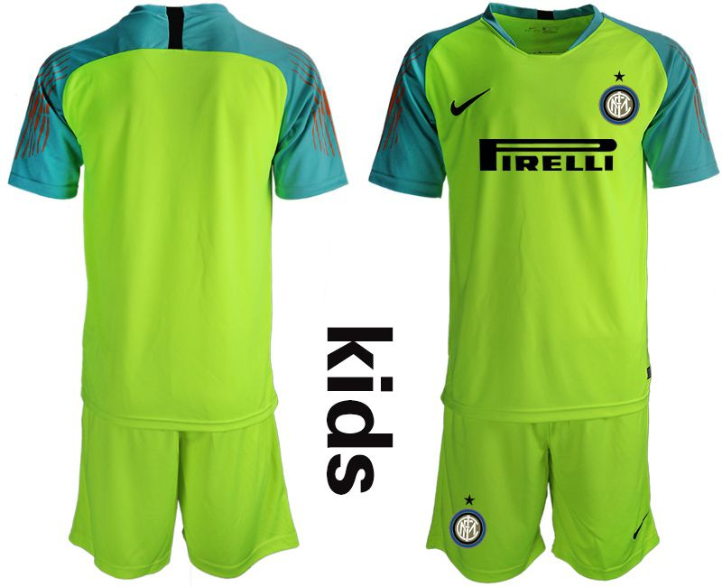 Youth 2018-2019 club Inter Milan goalkeeper blank green soccer jersey