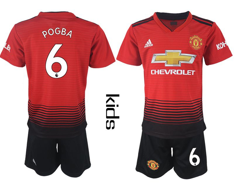 Youth 2018-2019 club Manchester United home 6 red soccer jersey