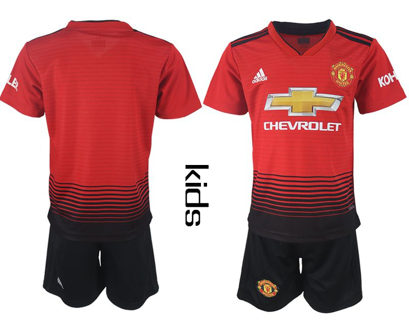 Youth 2018-2019 club Manchester United home blank red soccer jersey
