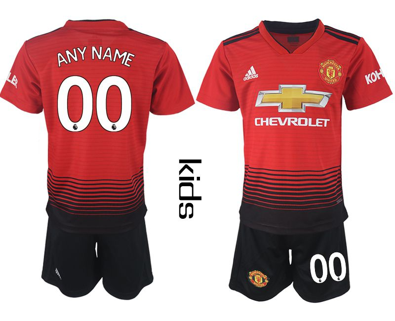 Youth 2018-2019 club Manchester United home customized red soccer jersey