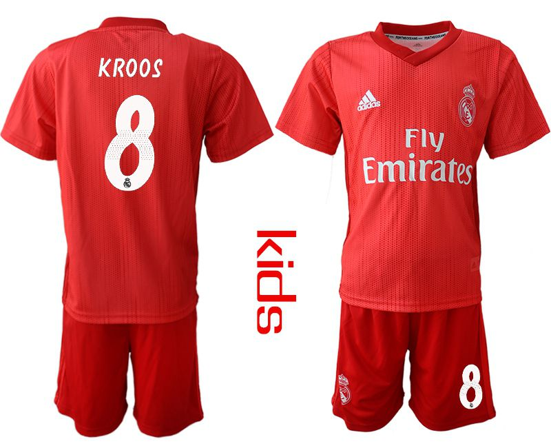 Youth 2018-2019 club Real Madrid Second away 8 red soccer jersey