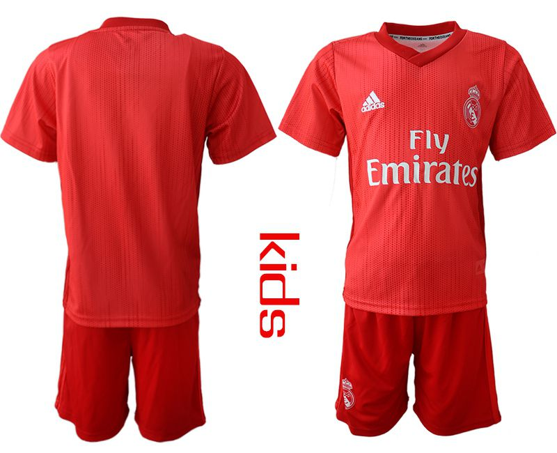 Youth 2018-2019 club Real Madrid Second away blank red soccer jersey