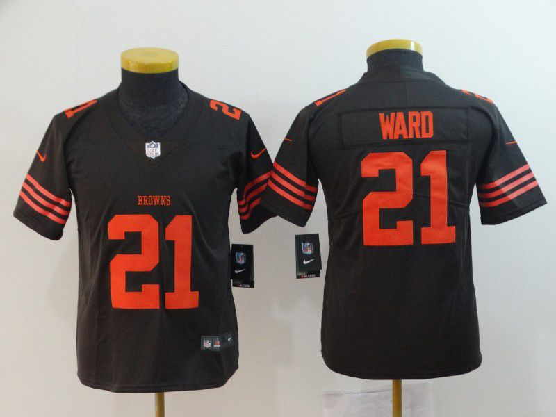 Youth Cleveland Browns 21 Ward Brown Nike Vapor Untouchable Limited Playe NFL Jerseys