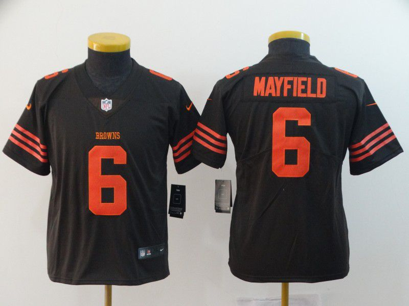 Youth Cleveland Browns 6 Mayfield Brown Nike Vapor Untouchable Limited Playe NFL Jerseys