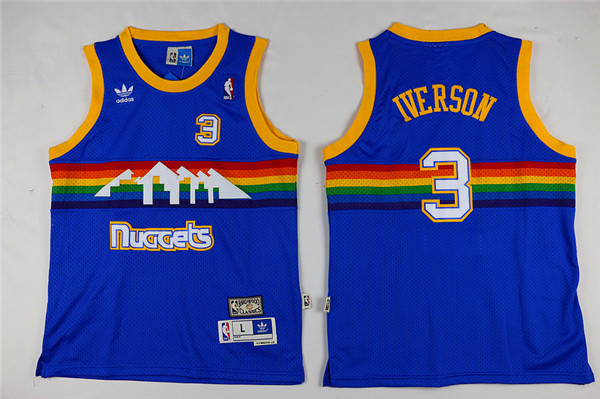 Youth Denver Nuggets Adidas 3 Iverson blue NBA Jersey