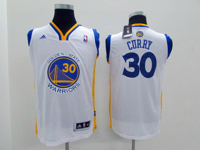 Youth Golden State Warriors 30 Curry White Game Nike NBA Jerseys