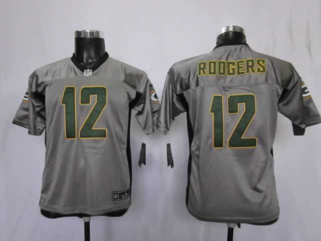 Youth Green Bay Packers 12 Rodgers Grey Nike NFL Jerseys