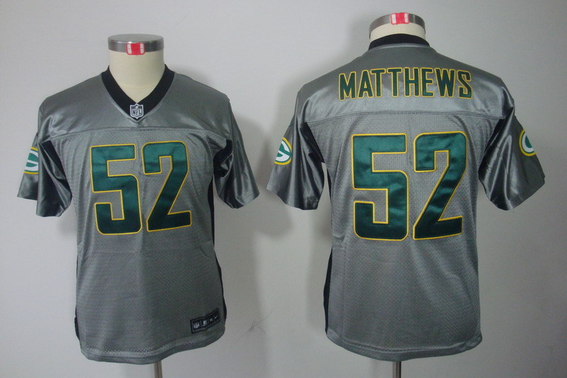 Youth Green Bay Packers 52 Matthews Grey Nike NFL Jerseys