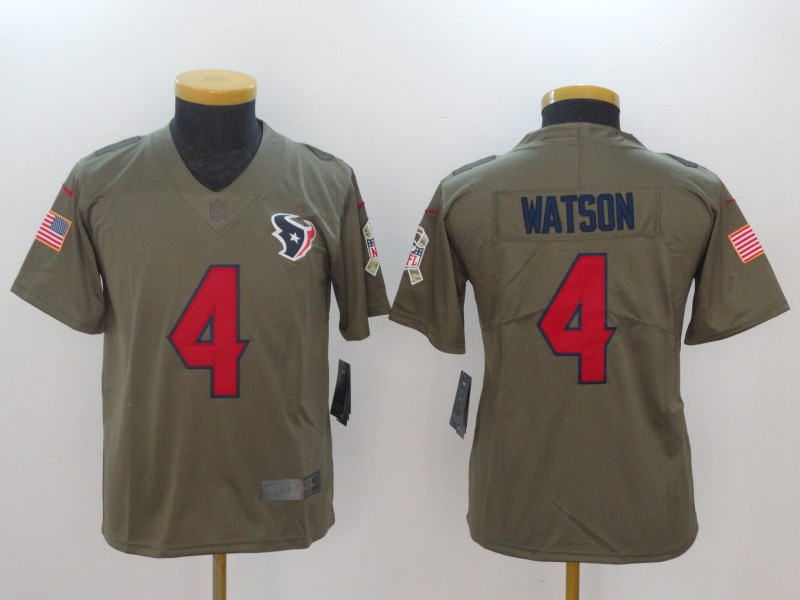 Youth Houston Texans 4 Watson Nike Olive Salute To Service Limited Nike NFL Jerseys
