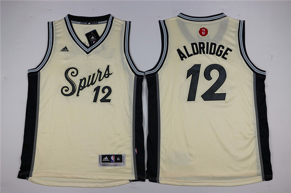 Youth San Antonio Spurs 12 Aldridge cream Game Nike NBA Jerseys