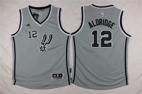 Youth San Antonio Spurs 12 Aldridge grey Game Nike NBA Jerseys