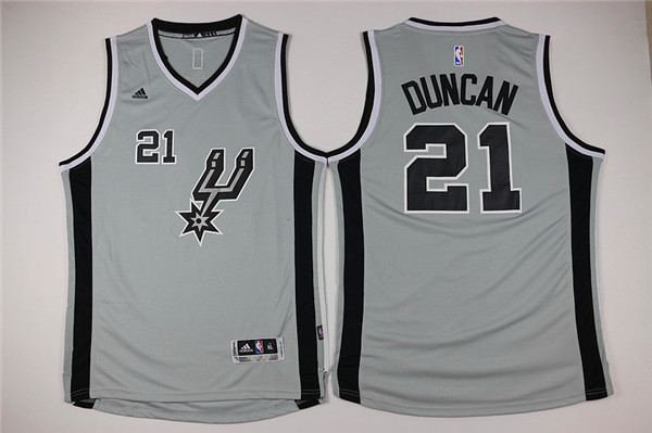 Youth San Antonio Spurs 21 Duncan grey Game Nike NBA Jerseys