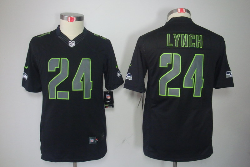 Youth Seattle Seahawks 24 Lynch black Nike NFL jerseys