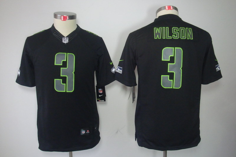 Youth Seattle Seahawks 3 Wilson Black Nike NFL Jerseys