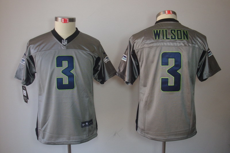 Youth Seattle Seahawks 3 Wilson Grey Nike NFL Jerseys