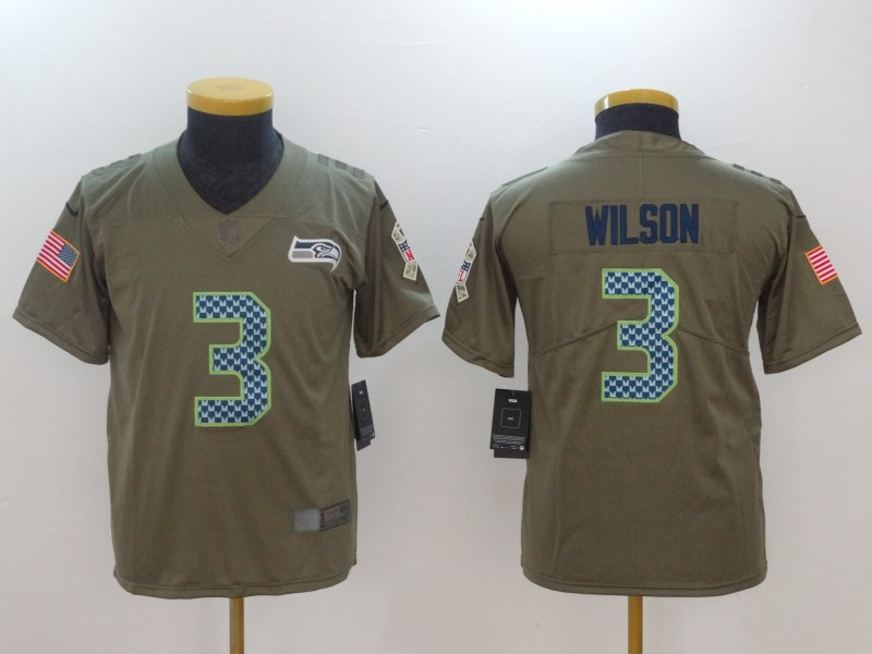 Youth Seattle Seahawks 3 Wilson Nike Olive Salute To Service Limited NFL Jerseys