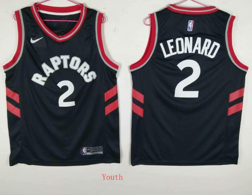 Youth Toronto Raptors 2 Leonard Black Game Nike NBA Jerseys