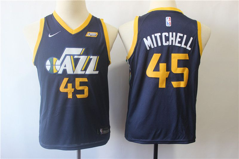 Youth Utah Jazz 45 Mitchell Blue Nike NBA Jerseys