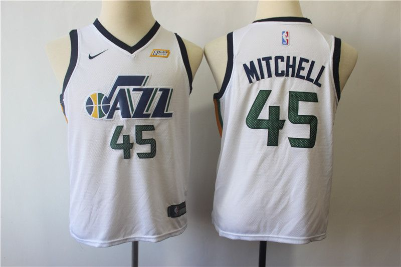 Youth Utah Jazz 45 Mitchell White Nike NBA Jerseys